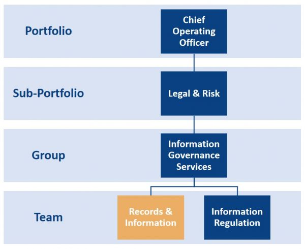 Organisation chart of where Records & Information teams within the COO portfolio